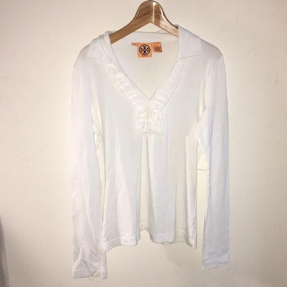 8dc9dd7f1871b Tory Burch ruffled v neck long sleeve white shirt.  M 5af7778a3a112e149c66bbe8